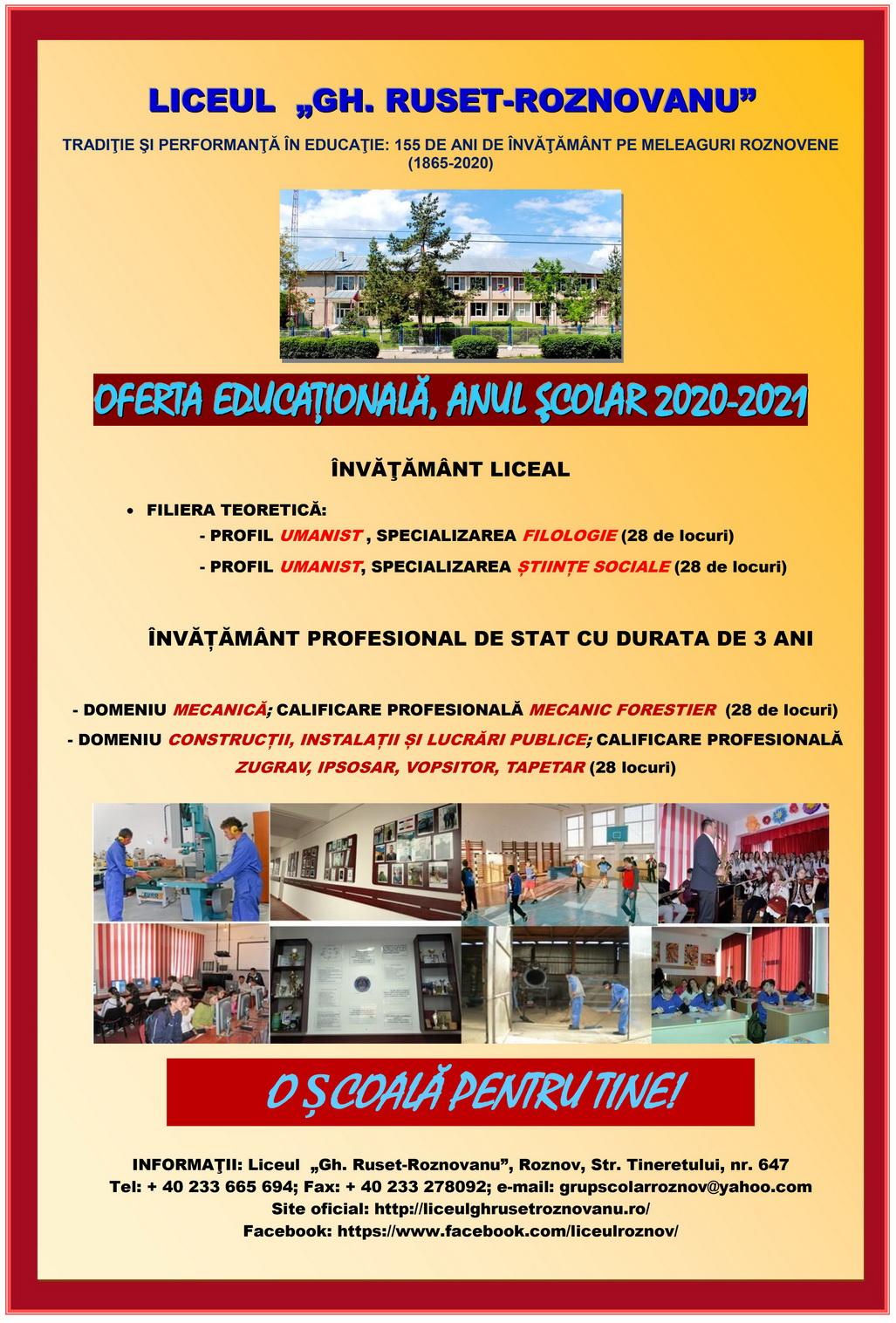Liceul GH Ruset Roznovanu - oferta educationala 2020-2021